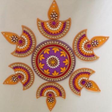 Yellow Purple Diya Rangoli