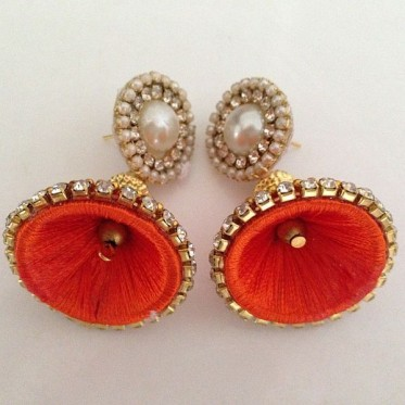 Silk Thread Jhumka J22 Orange