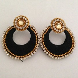 Silk Thread Jhumka_J3_Black