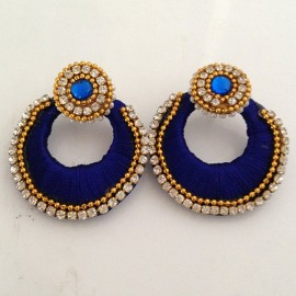 Silk Thread Jhumka J3 Navy Blue