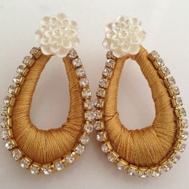 Silk Thread Jhumka J5 Cream