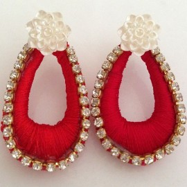 Silk Thread Jhumka J5 Red
