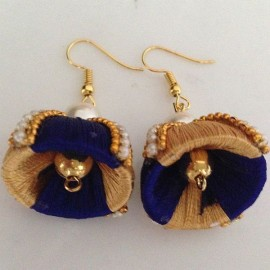 Silk Thread Jhumka J17 Blue