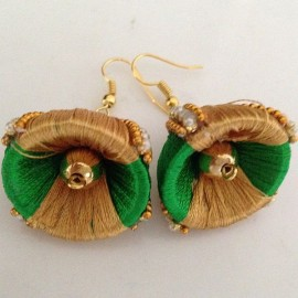 Silk Thread Jhumka J17 Green