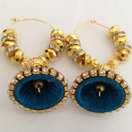 Silk Thread Jhumka J18 Blue