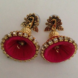 Silk Thread Jhumka J19 Red