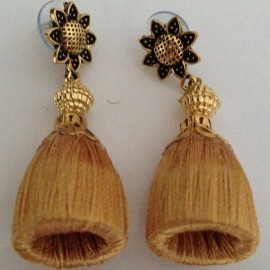Silk Thread Jhumka J20 Cream