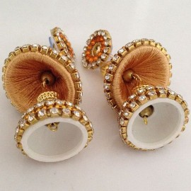 Silk Thread Jhumka J21 Cream