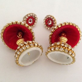 Silk Thread Jhumka J21 Red