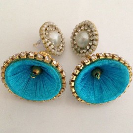 Silk Thread Jhumka J22 Blue