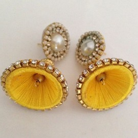 Silk Thread Jhumka J22 Yellow