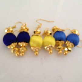 Silk Thread Jhumka J29 Navy Blue Yellow Blue