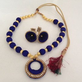 Silk Thread Necklace N9 Blue