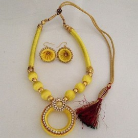 Silk Thread Necklace N28 Yellow