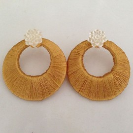 Silk Thread Jhumka J25 Cream