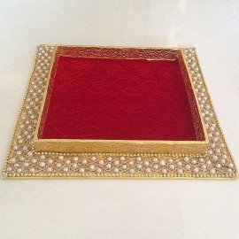 Decorated Tray Rectangular Red