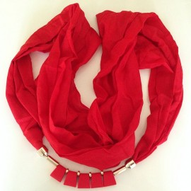 Scarf with Attached Jewellery