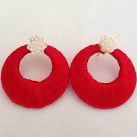 Silk Thread Jhumka J24 Red